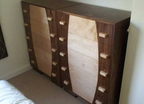 Todd chest of drawers in Walnut & Maple