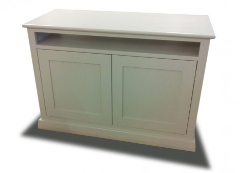 Hudson TV unit in wood veneers and Farrow & Ball painted finish