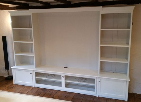 Harwood media unit in Painted Oak veneers